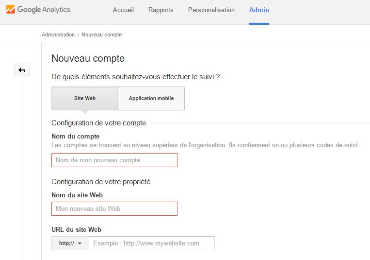 Google Analytics creation